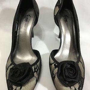 Fioni Shoes - Fioni Night 9.5 Bronze Metallic Black Lace Mesh